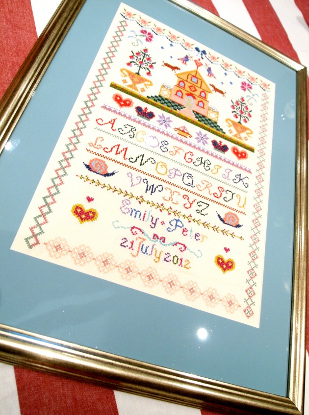 Handmade  wedding sampler