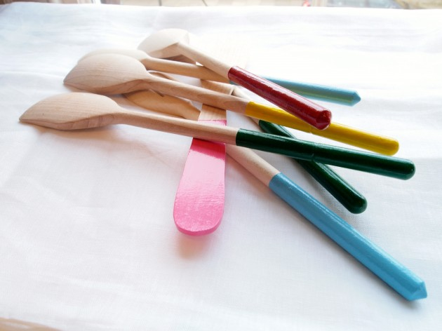 Coloured painted wooden spoons