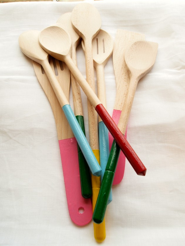 Enamel paint dipped spoons