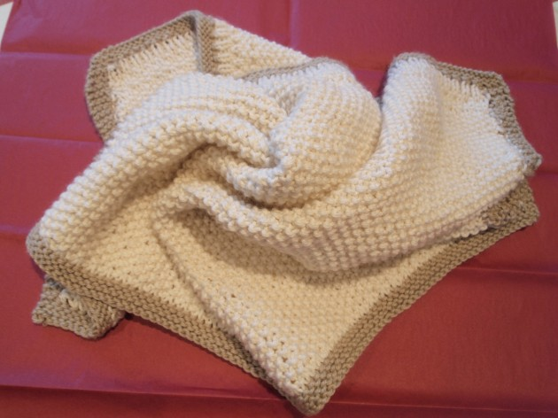 Cream and beige cashmere baby blanket