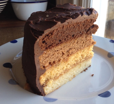 Chocolate and Caramel Ombre Cake